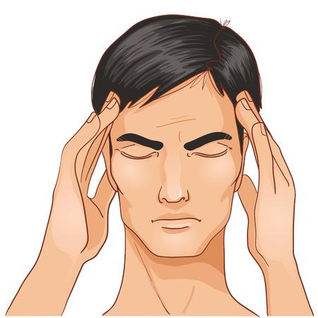 Zieke mens klachten over hoofdpijn Stockfoto - 22734772