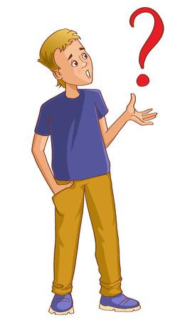question mark: Verwirrt Cartoon-Mann mit Fragezeichen