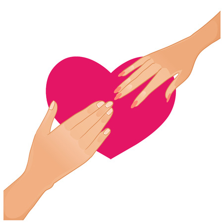 acquaintance: Woman and man hands on the background with heart Illustration