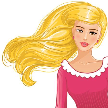 Vrij blond meisje in de rode kleren, eps10