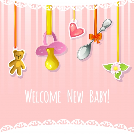 Baby greetings card with pacifier, spoon, heart, teddy bear and flower label, EPS10 Vector