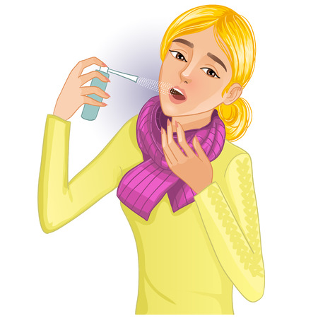 cold compress: Ill woman with spray