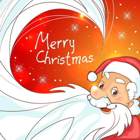Cute cartoon Santa Claus on Christmas background, esp10
