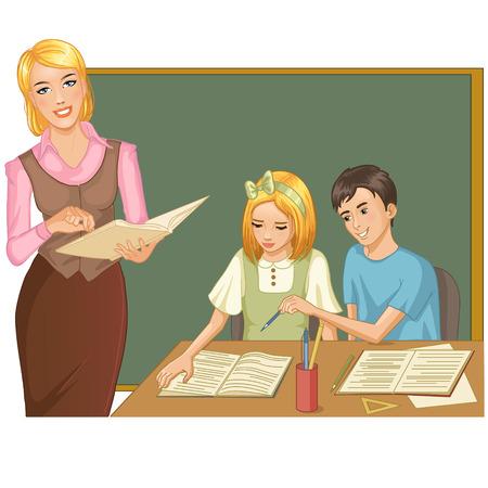 assignment: Teacher and children at blackboard
