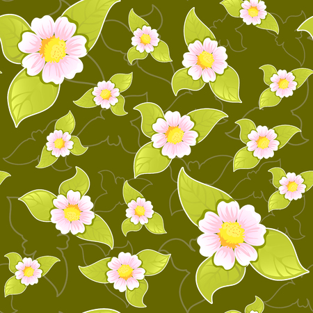 Seamless floral pattern on dark background Stock Vector - 23660159