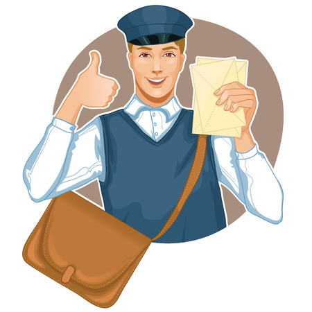 vest: Young postman in a postman uniform with a letter and bag