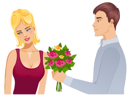 propose: Young couple  Man gives a bouquet of roses to woman