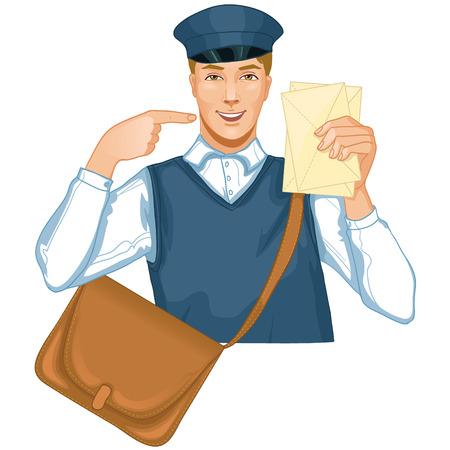 cartero: Joven en un uniforme de cartero cartero con una carta y una bolsa