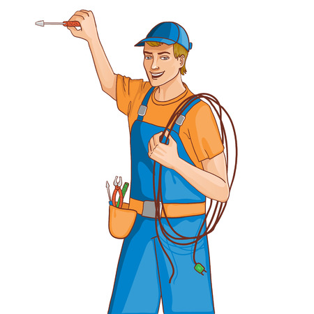 electrical safety: Young cheerful electrician