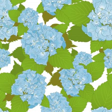 corolla: Seamless background with blue hydrangea