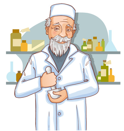 druggist: Old doctor with mortar