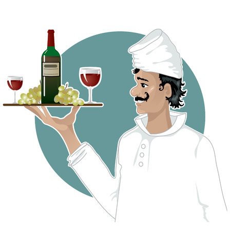 serving tray: Head-cook with a tray with red wine, grape and glasses  Illustration