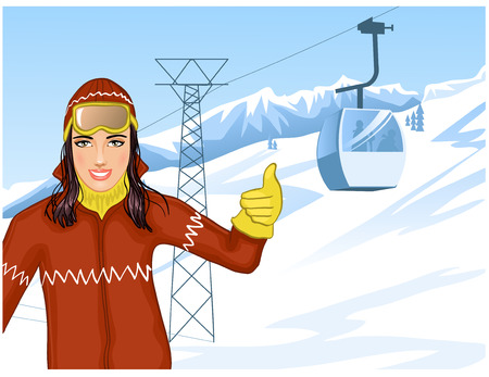 lodge: Girl on the background with cable-way Illustration