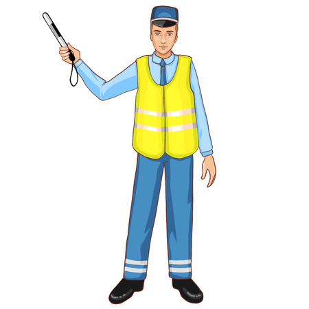 Young traffic-controller with rod Vector