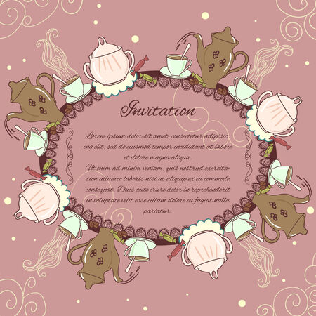 Decorative card with vintage tea or coffee service  Vector