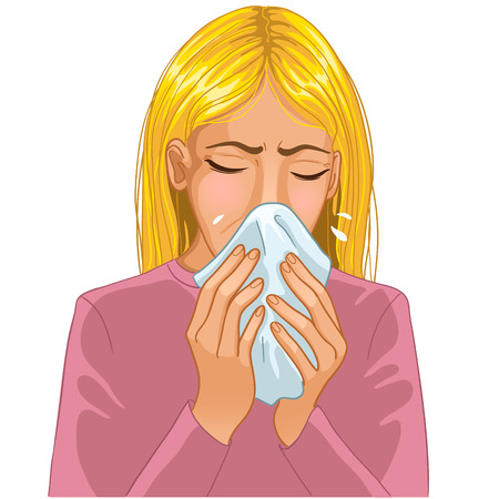 blowing nose: Sneezing woman Illustration