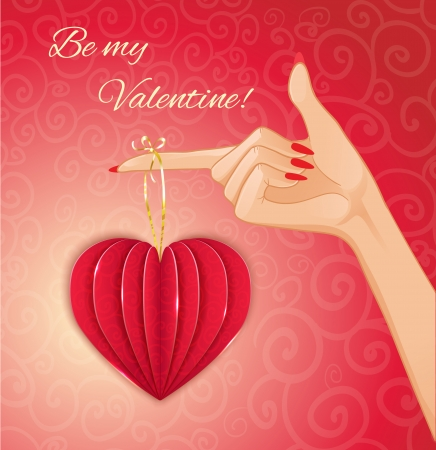 Woman hand with decorative paper red heart for Valentines Day, eps10 Vector