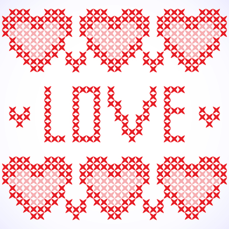 lappet: Decorative card with cross-stitched hearts