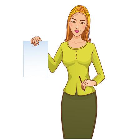 Jonge vrouw met papieren in de ene hand en potlood in een andere Stock Illustratie