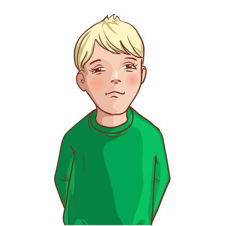 Teenager cartoon boy with blond hair