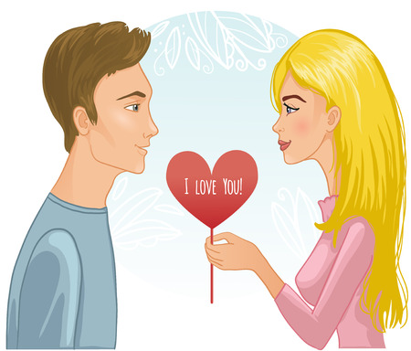 marriage proposal: image of a young couple  Woman presents a heart to man  Illustration