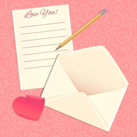 carta de amor: Carta de amor, sobre y el coraz�n etiqueta Vectores