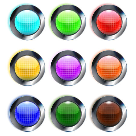 Set of colorful glass round buttons, eps10 Vector
