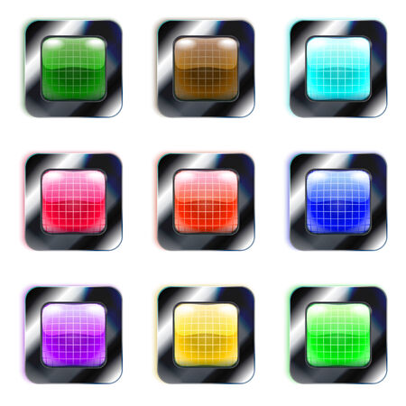 Set of colorful glass square buttons, eps10 Vector