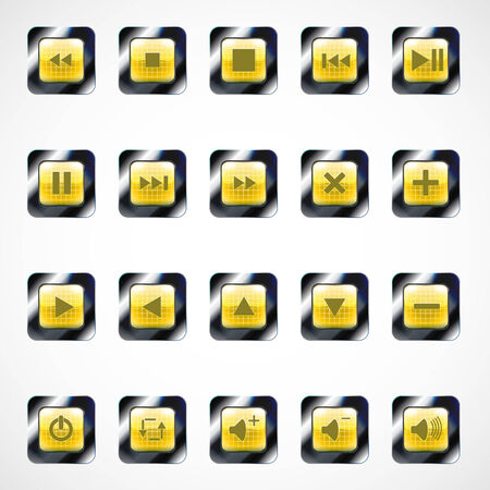 Set of glass square media buttons, eps10 Vector