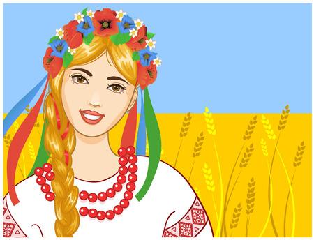 Mujer joven en ropa ucraniano