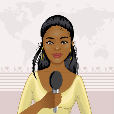 Pretty African American girl reports news Stock Illustratie