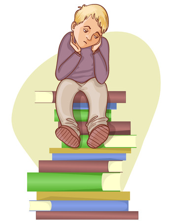 mobbing: Boy is under stress with lot of books to read, eps10