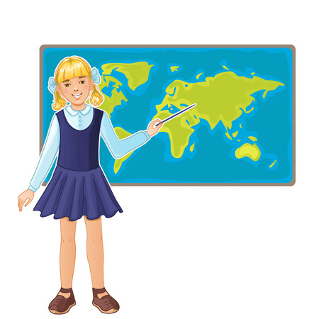 Schoolgirl at map of the world, eps10 Vector