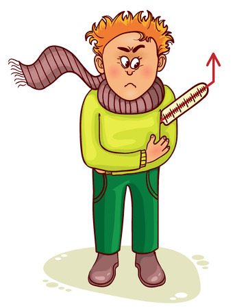 cold compress: Ill little man complains about fever Illustration