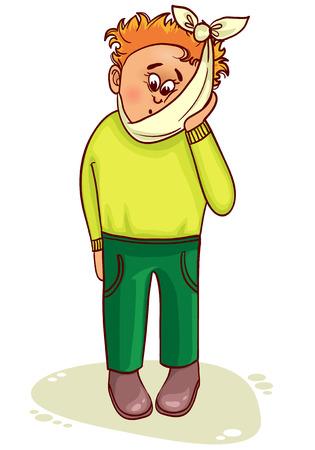 Zieke kleine man klaagt over de tanden pijn Stock Illustratie