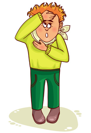 cold compress: Ill little man complains about fever and headache Illustration