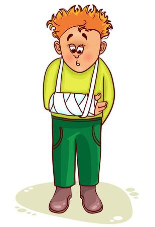 Ill little man with broken arm 版權商用圖片 - 25996314