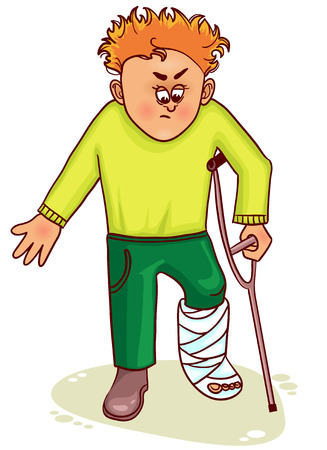 pierna rota: Ill pequeño hombre con la pierna rota