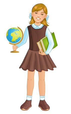 Schoolgirl with globe and books, eps10