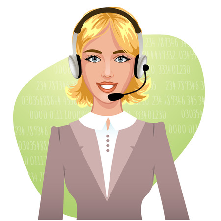 call center agent: Young woman operator