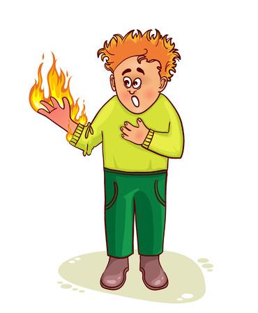 quemadura: Hombre enfermo se queja de quemadura Vectores