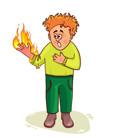 burn: Ill man complains about burn Illustration
