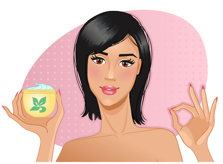 woman face cream: Girl with cream in hand Illustration