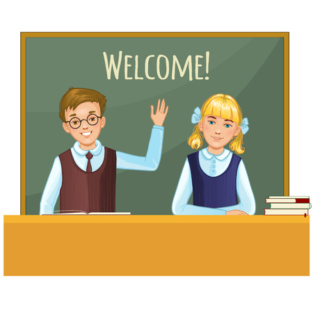Schoolboy and schoolgirl at the desk on the background with blackboard Vector