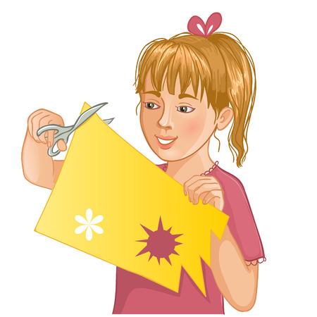 color paper: La muchacha est� cortando papel de color con unas tijeras Vectores