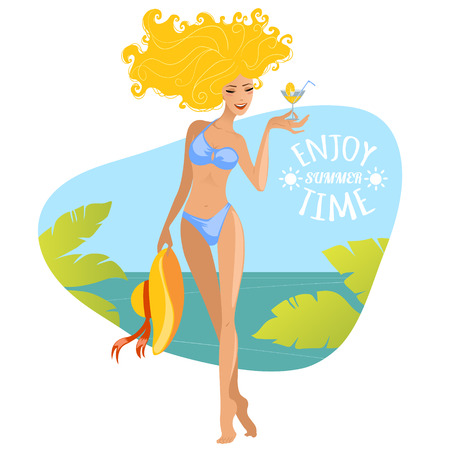 sexy bikini girl: Beautiful summer woman on the beach with cocktail and hat  Illustration