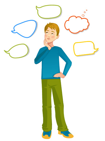 hesitation: Boy with speech bubbles around