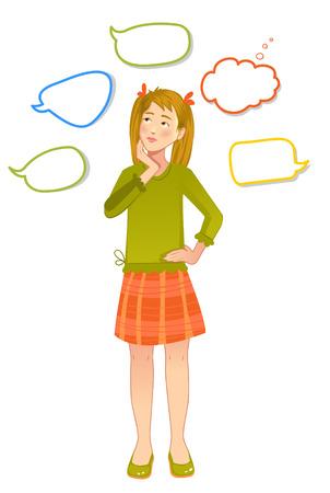 hesitation: Girl with speech bubbles around