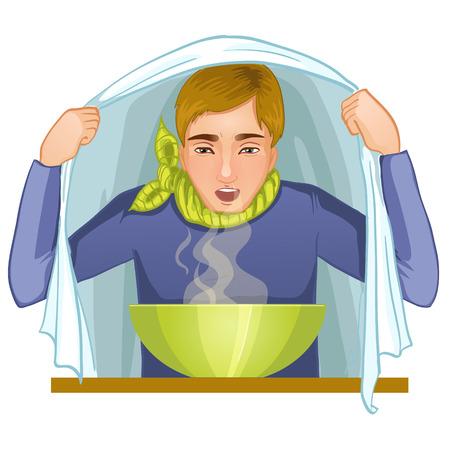Ill young man makes inhalation, eps10 Vector