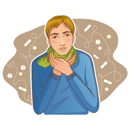 Zieke jonge man klachten over kou